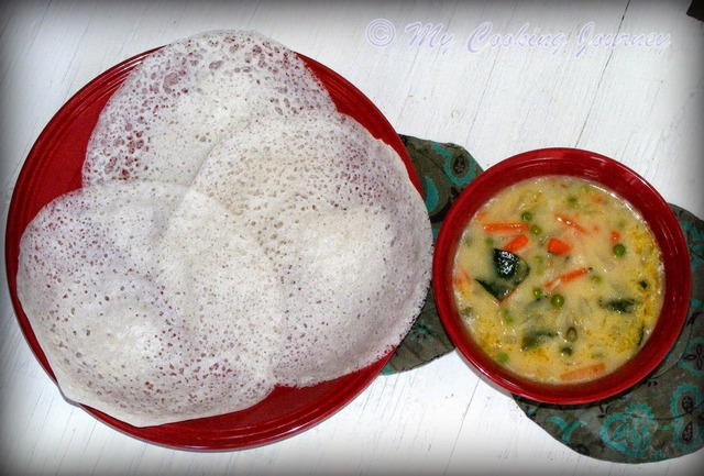 Appam and Vegetable Stew (Ishtew) from Kerala – Fermented Rice Pancakes with Vegetable Stew