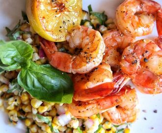 Lemon Shrimp with Basil-Corn Salad