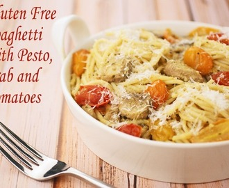 Gluten Free Spaghetti with Pesto, Crab and Tomatoes