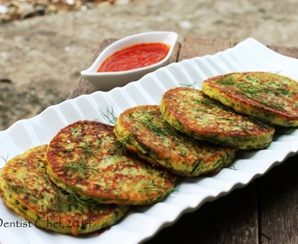 Recipe Savoury Zucchini Pancake (Gluten Free Courgette Fritter) with Cheese, Dill Weed, Bacon & Anchovies