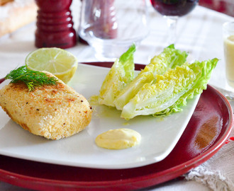Poisson pané et sa mayonnaise citron gingembre