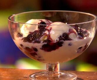 Frozen Yogurt with Cinnamon-Spiked Blueberry Sauce