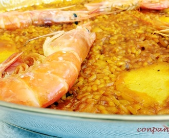 Arroz seco con gambones, garbancitos y patata / Dry rice with prawns, chickpeas  and potato