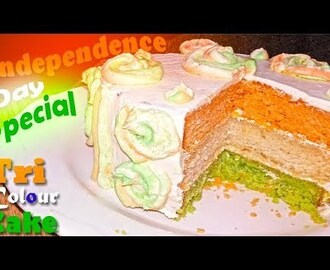 eggless tri colour cream cake recipe - Indian independence day special | eggless tiranga cake recipe