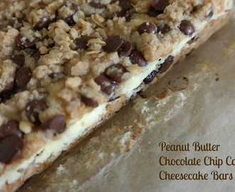 12 | 52 Peanut Butter Chocolate Chip Cookie Cheesecake Bars
