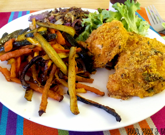 Herb Crusted Chicken with Veggie Fries & Onion Crumb