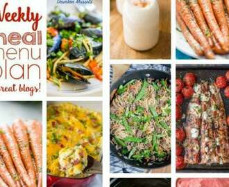 Easy Weekly Meal Plan #116Weekly Meal Plan Week 116– 10 great bloggers bringing you a full week of recipes including dinner, sides dishes, and desserts!     Here is the line up for the meal plan is week: Monday – Soup/Salad/Seafood/Meatless – start the week off with something a little lighter. Tuesday – Mexican – Tacos, enchiladas and more! Wednesday – Pasta/Italian – pasta doesn't have to mean Italian, so look for all sorts of fun dishes. Thursday – Rice/Asian – recipes from all over the work that are easy to make in your own home. Friday – Cocktails! Take a night off from cooking and enjoy a fun cocktail to end the week. Saturday – Burgers/Grilling/Sandwiches – fire up the grill for an easy dinner. Sunday – Comfort Food/Slow Cooker – end the week with food your family will love.     Caprese Stuffed Salmon – The Cookie Rookie      Crock Pot Fiesta Mexican Chicken & Rice – Wishes & Dishes      15 Minute Drunken Mussels – Sweet C's    Ground Beef & Noodle Stir Fry – Yellow Bliss Road      Cocktail Night!  Boozy Pumpkin Pie Milkshakes – Lemons for Lulu      Crispy Cheese and Bacon Potatoes – Barefeet in the Kitchen      Hot Ham and Cheese Rolls – Foodie with Family      Loaded Twice Baked Potato Casserole – Dinners, Dishes and Desserts    Oven Roasted Carrots with Garlic and Parsley – Lemons for Lulu         15 Minute Pumpkin Spice Krispy Treats – Pass the Sushi