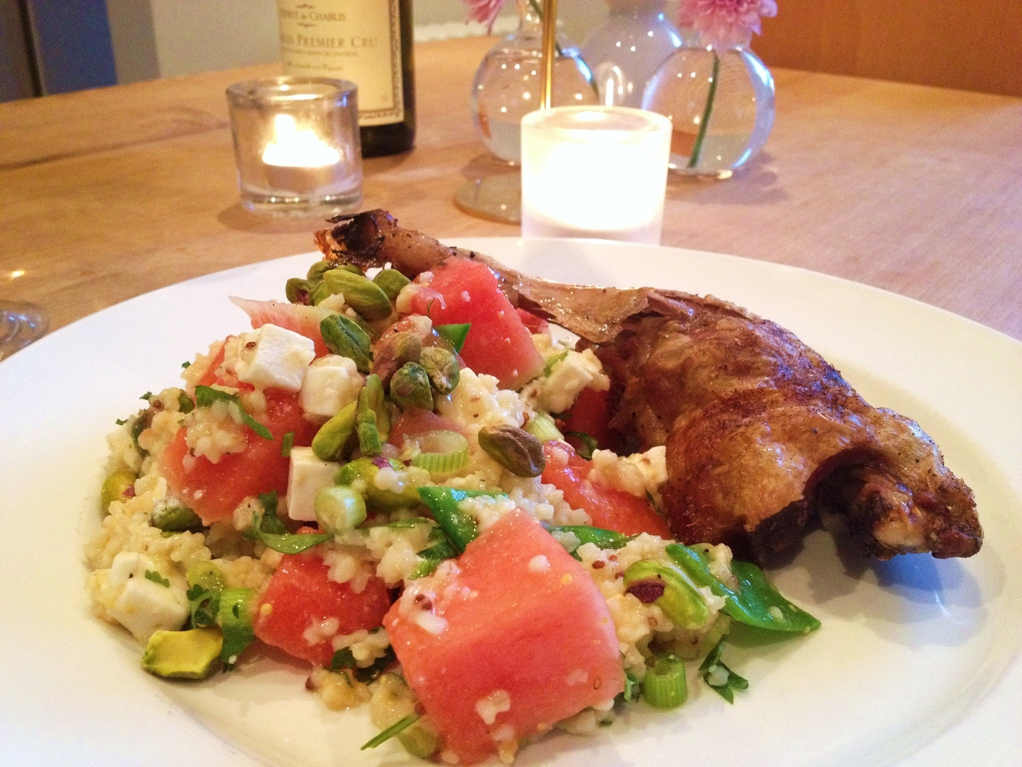 Five Spice Roast Duck Legs with Watermelon, Feta Cheese and Quinoa Salad