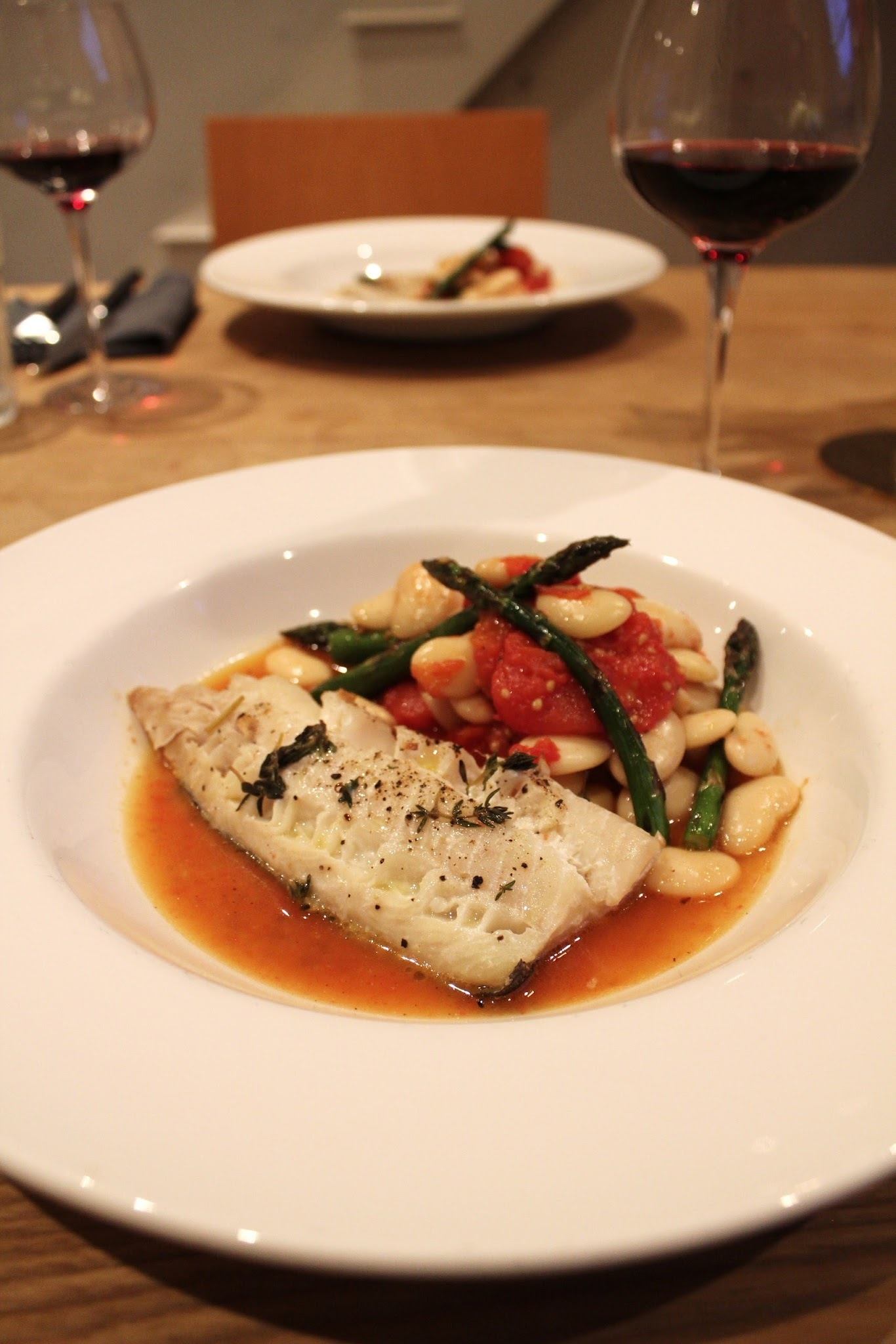 Roasted Cod with Butter Beans, Baby Plum Tomatoes and Asparagus