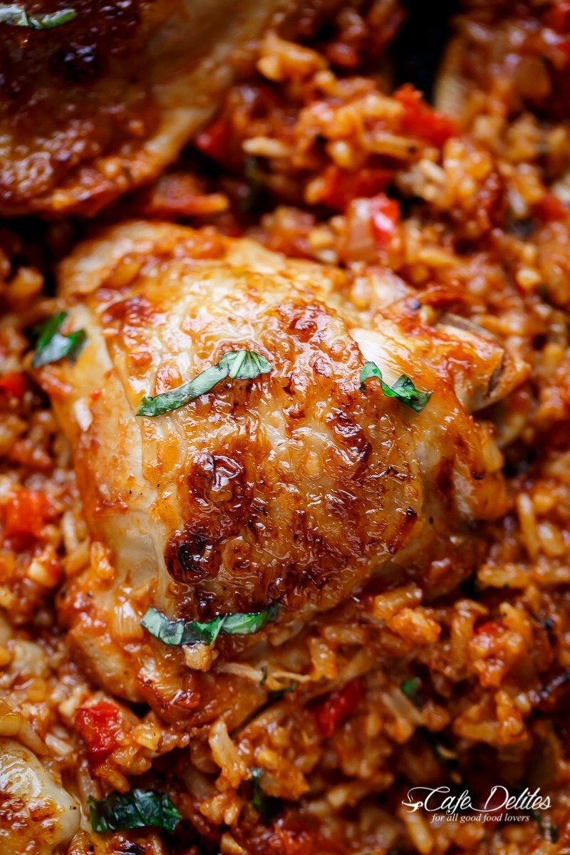 One Pan Tomato Basil Chicken & Rice