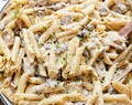 One-Pot Creamy Mushroom Chicken Pasta (Lightened Up)