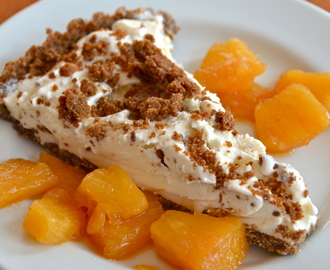Short And Sweet. Gingersnap Crumble Ice Cream Tart With Pineapple Caramel Sauce.