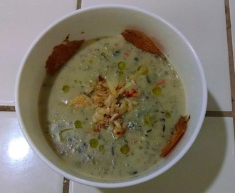 Roasted Artichoke Bisque with Spicy Crab Meat, Lemon Infused Olive Oil and Parmesan Crisps