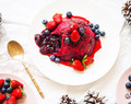 Easy Summer Berry Christmas Pudding.