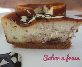 Tarta de queso y chocolate (¡¡y 3º cumple blog!!)