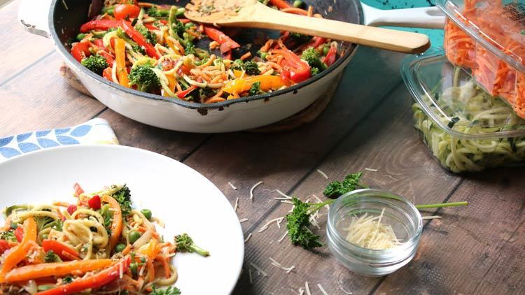 Gluten Free Pasta Primavera Recipe with Sweet Potato and Zucchini 'Noodles'