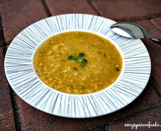 Red curry lentil soup with coconut milk