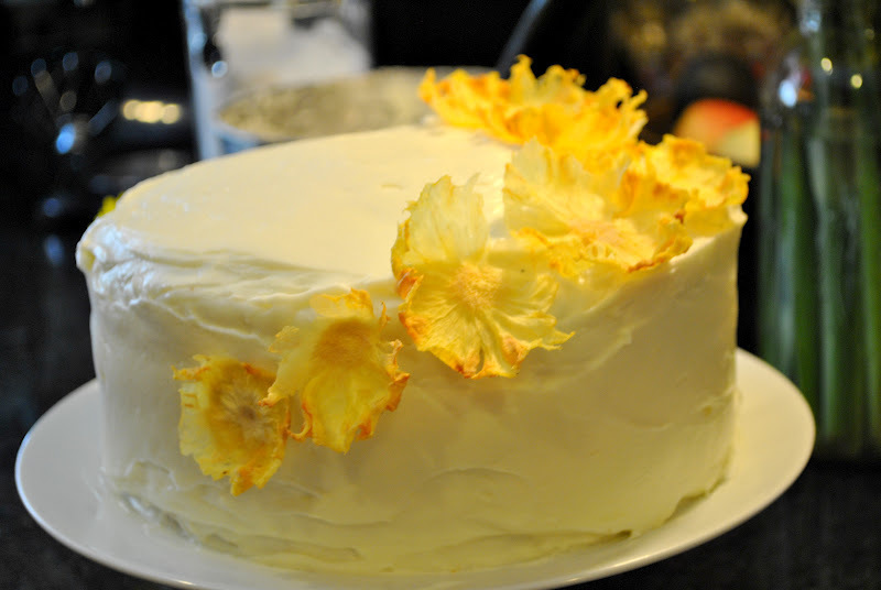 throwback thursday.. carrot cake w/cream cheese frosting and pineapple flowers..