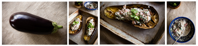Roast eggplant with lentil, preserved lemon and yoghurt