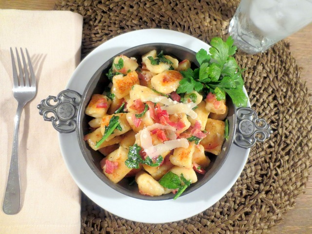 Toasted Ricotta Gnocchi with Pancetta and Wilted Arugula