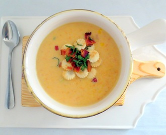 Sweet Corn Potato Chowder with Bacon and Basil