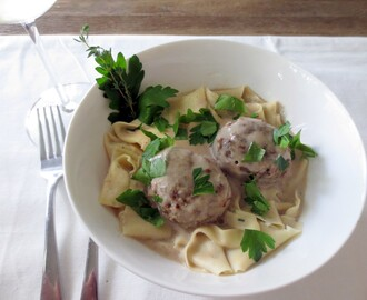 Homemade Pappardelle with Swedish Meatballs and Mushroom Sauce