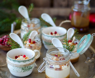 Gingerbread Panna Cotta with Gingerbread Caramel Sauce and Frozen Lingonberries (Pepparkakspannacotta med Pepparkakskaramell och Frusna Lingon)
