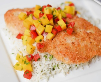 Coconut-Crusted Rockfish with Mango Salsa and Cilantro, Lime & Coconut Rice Pilaf