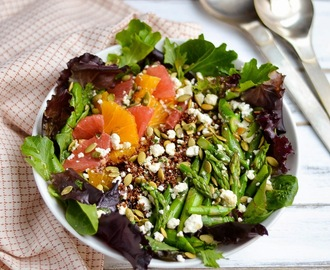 Citrus Salad with Red Quinoa, Asparagus, Feta and Toasted Pepitas