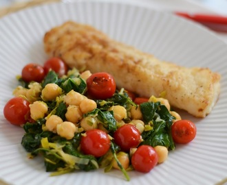 Cod with Chickpeas, Leeks, Baby Kale and Seared Cherry Tomatoes