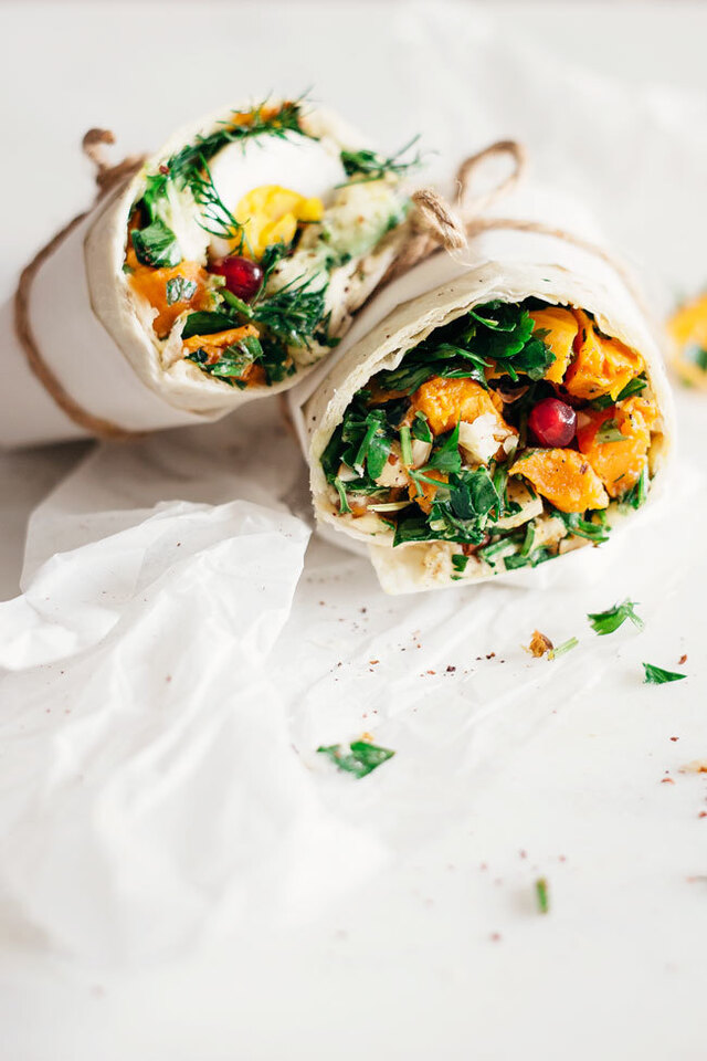 Easy Lunch Wrap with Sweet Potato, Hummus and Greens