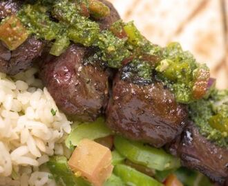 Beef Skewers with Chimichurri Sauce with Rice Pilaf and Cucumber Salad