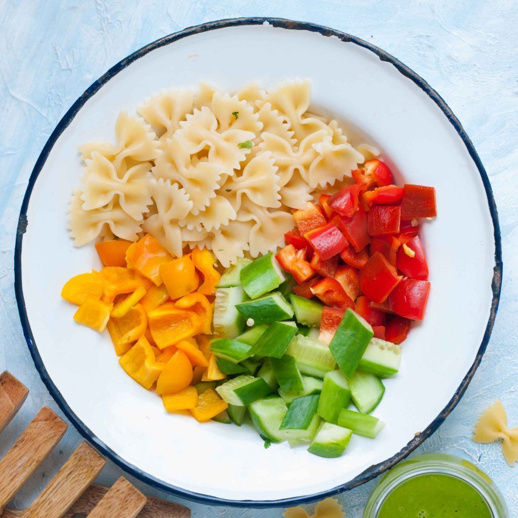 Light Pasta Salad with Gorgeous Cilantro Dressing