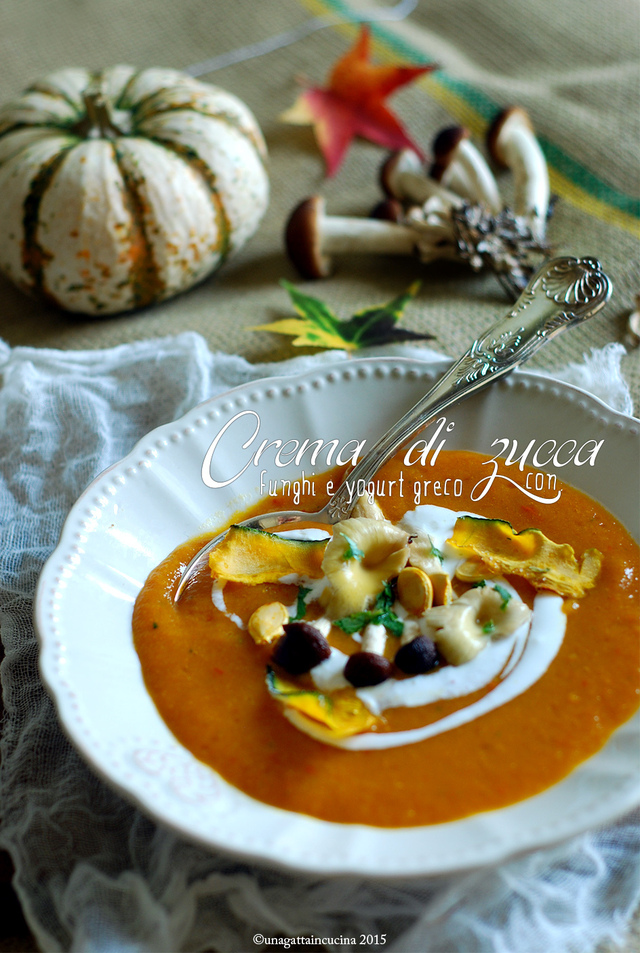 Crema di zucca con funghi e yogurt greco | Pumpking and mushrooms cream with greek yogurt