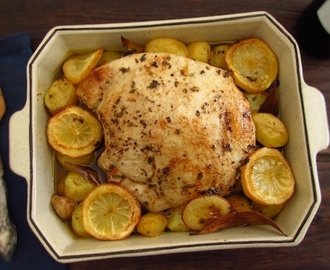 Turkey tenderloin in the oven with lemon and cinnamon