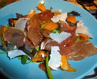 Spiced Roast Squash and Parma Ham Salad with a Thyme and Balsamic Dressing Recipe