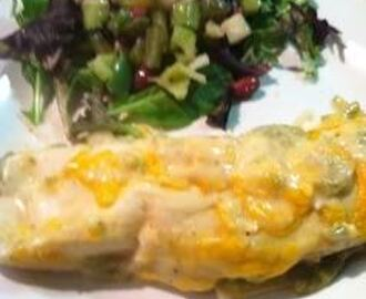 Cheese Enchiladas with Creamy Green Chili Sauce