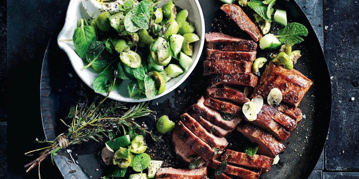 Herb and Garlic Lamb With Green Olive Salad / Photo by Chris Court and William Meppem