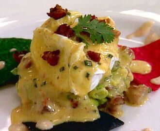 Poached Eggs with Chipotle Dressing and Avocado Relish and Andouille Hollandaise