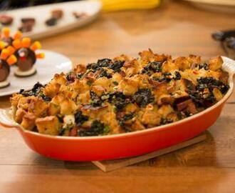 Country Bread Stuffing with Goat Cheese, Kale and Bacon