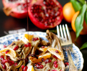 Radicchio rosso di Treviso arrosto con melagrana | Roasted Radicchio rosso di treviso with pomegranate, tangerines and balsamic glaze