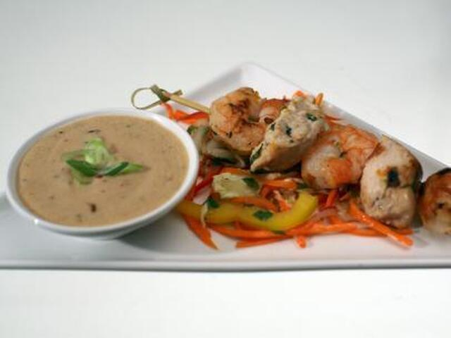 Chicken and Shrimp Satay with Coconut Peanut Sauce and Fresh Vegetable Salad