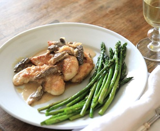 Pan Fried Chicken with Morel Mushroom and Shallot Sauce