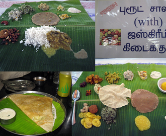 A traditional method of eating a Tamil Nadu meal  '' Saapad ''