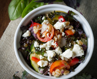 Purple Kale and Farro Salad with Lemon Vinaigrette