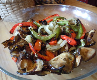 Roasted Marinated Eggplant, Peppers and Onions (serves 4)