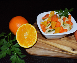 Vegetable-Fruit Salad: Oranges and Bananas with Carrot and Parsley