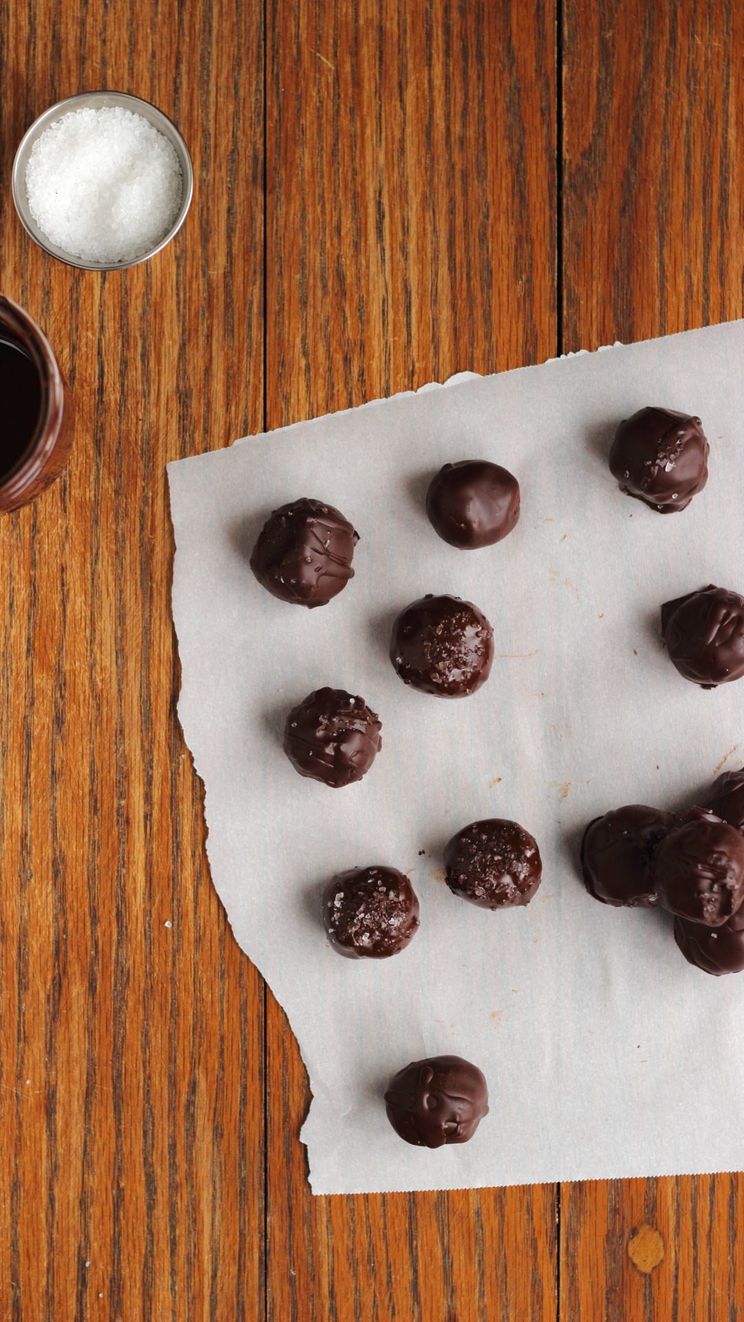 cookie dough truffles with dark chocolate and sea salt (vegan + gluten-free)