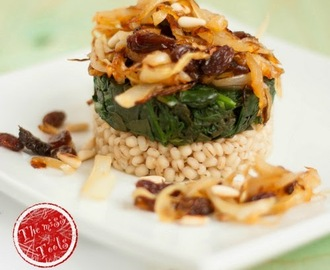 Tortino di spinaci e orzo perlato con cipolle in agrodolce...ed una domanda  - Spinach and pearl barley with sweet & sour onions