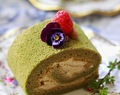 green tea souffle roll cake with chestnut mousseline filling